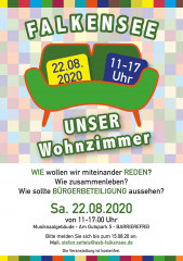 """Flyer Demokratiekonferenz in Falkensee: """"Falkensee – unser Wohnzimmer"""""""