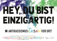 """Kampagnenmotiv: """"Hey, du bist einzigartig! Antirassismus vor Ort!"""""""